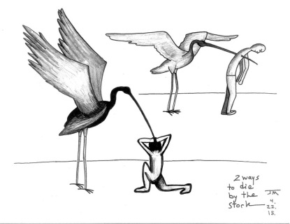 2 ways to die by the stork. Indian ink, #6 pencil on card stock. Joe Moma. 4.2015.